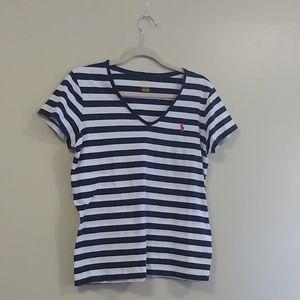 Polo Ralph Lauren | Navy and White Striped V-Neck